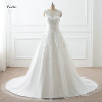In Stock Real Sample Elegant Lace Wedding Dresses 2018 Long Wedding Gown O Neck Sleeveless Bridal Dress With Detachable Skirt
