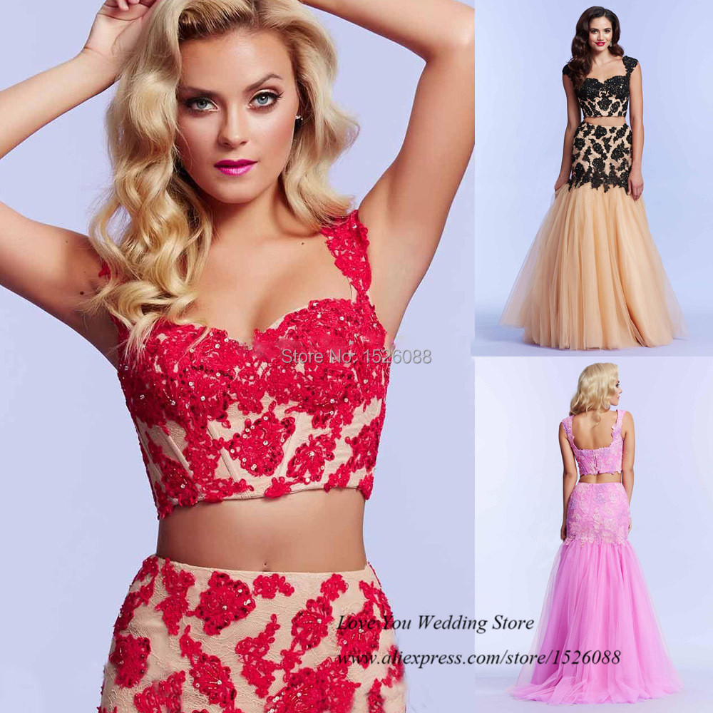 Hot Sell Red Black Pink Lace 2 Piece Prom Dresses 2015 Women Mermaid
