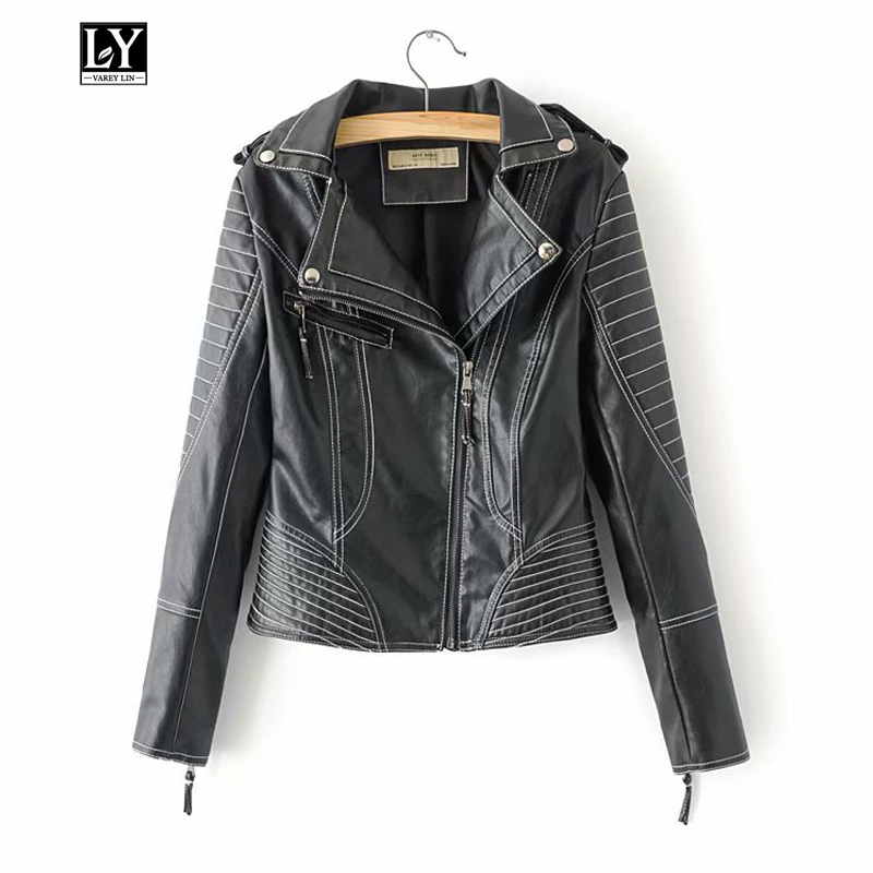 Ly Varey Lin Spring Autumn Women Black Punk Jacket Faux Soft   Leather   Motorcycle Zipper Rivet Female Turn-down Collar Outerwear