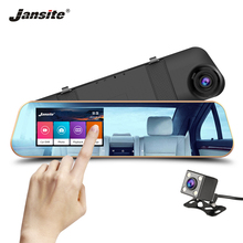 цены Jansite Touch Screen Car DVR Dual Lens Rear view camera Video Recorder Rear Camera Mirror With DVR Dash cam vehicle Registrator
