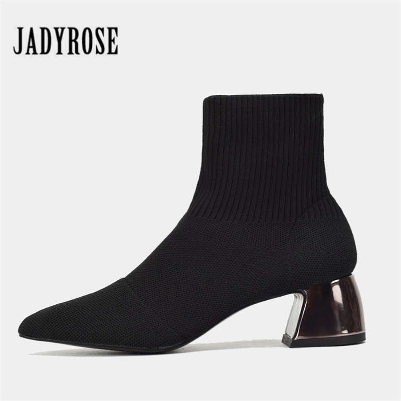 Jady Rose Sexy Black Women Knit Sock Boot Female Ankle Boots Chunky High Heel Shoes Woman Slim Fit Short Booties Martin Boots цена