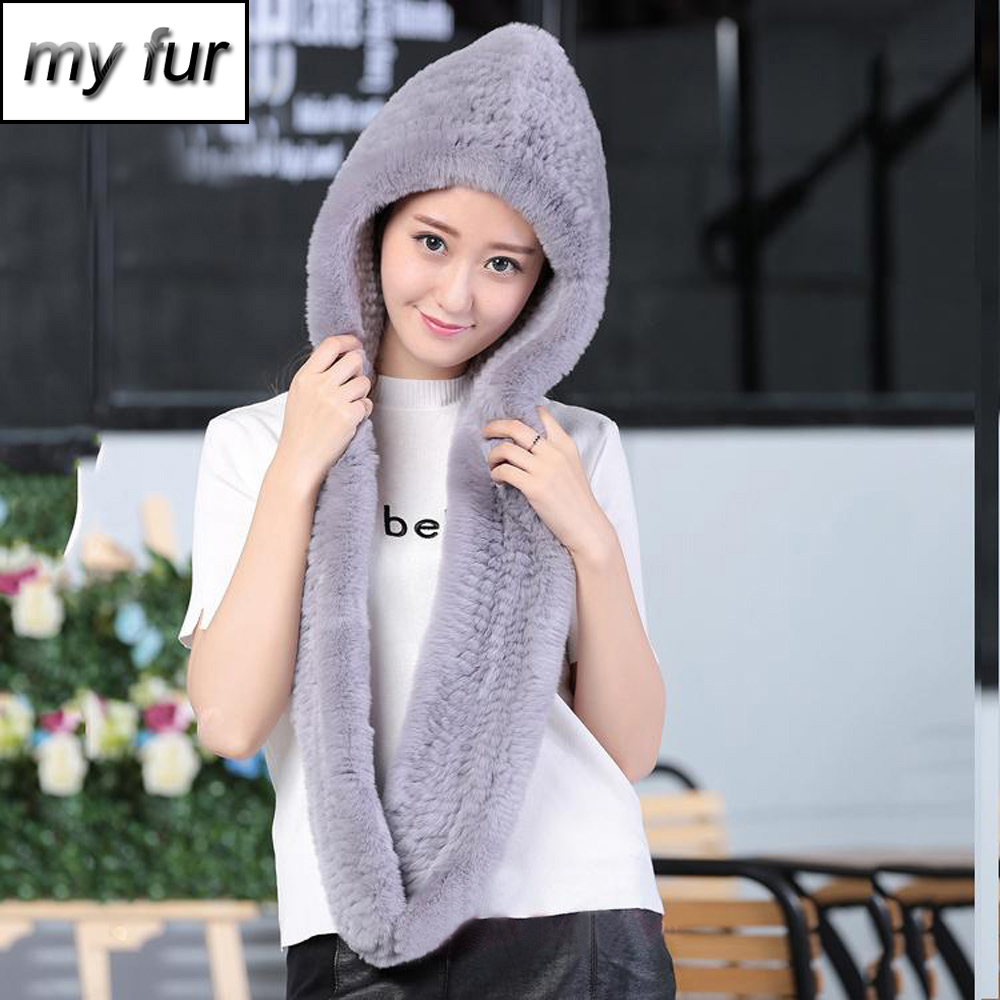 Winter women Warm Fur Scarves Lady Fashion Real Rex Rabbit Fur Hooded Scarf 100 Natural Knitted