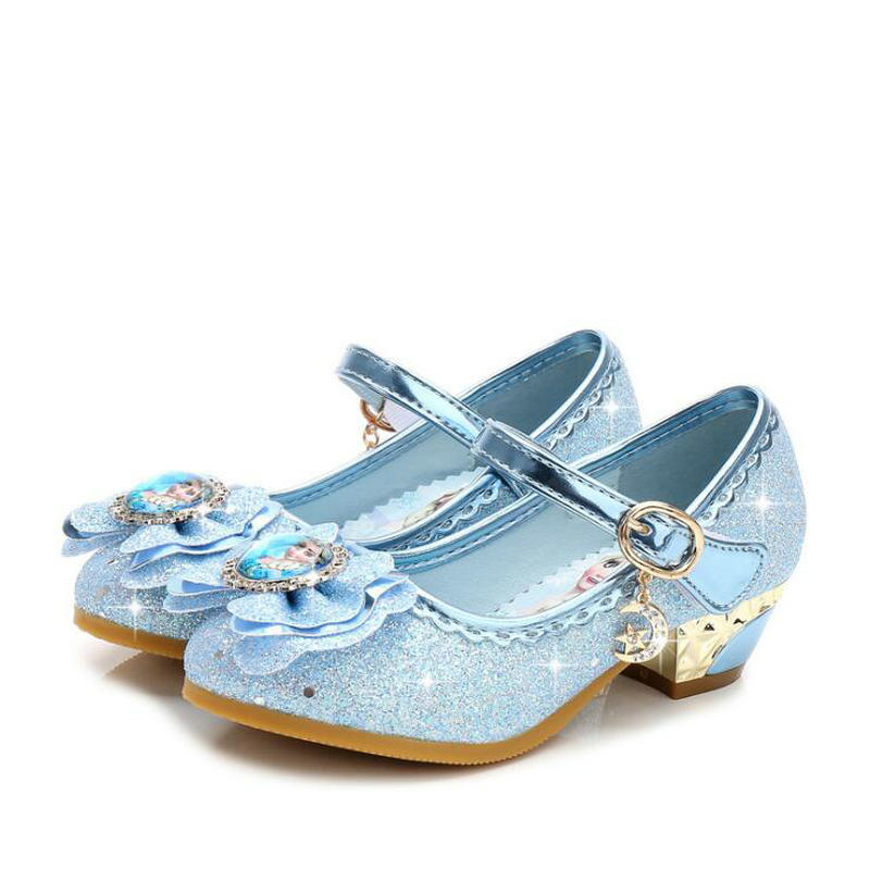 Children Leather Elsa Sandals Child High Heels Girls Princess Summer Anna Shoes Chaussure Enfants Sandals Party Shoes Eu 24-36