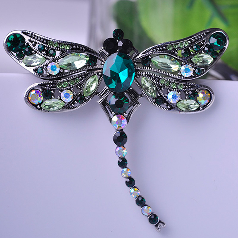 038b38716 Blucome Green Dragonfly Brooches Corsages Jewelry Shining Crystal Vintage  Brooch Crystal Big Broches Scarf Clothes Hijab Pins Up-in Brooches from  Jewelry ...