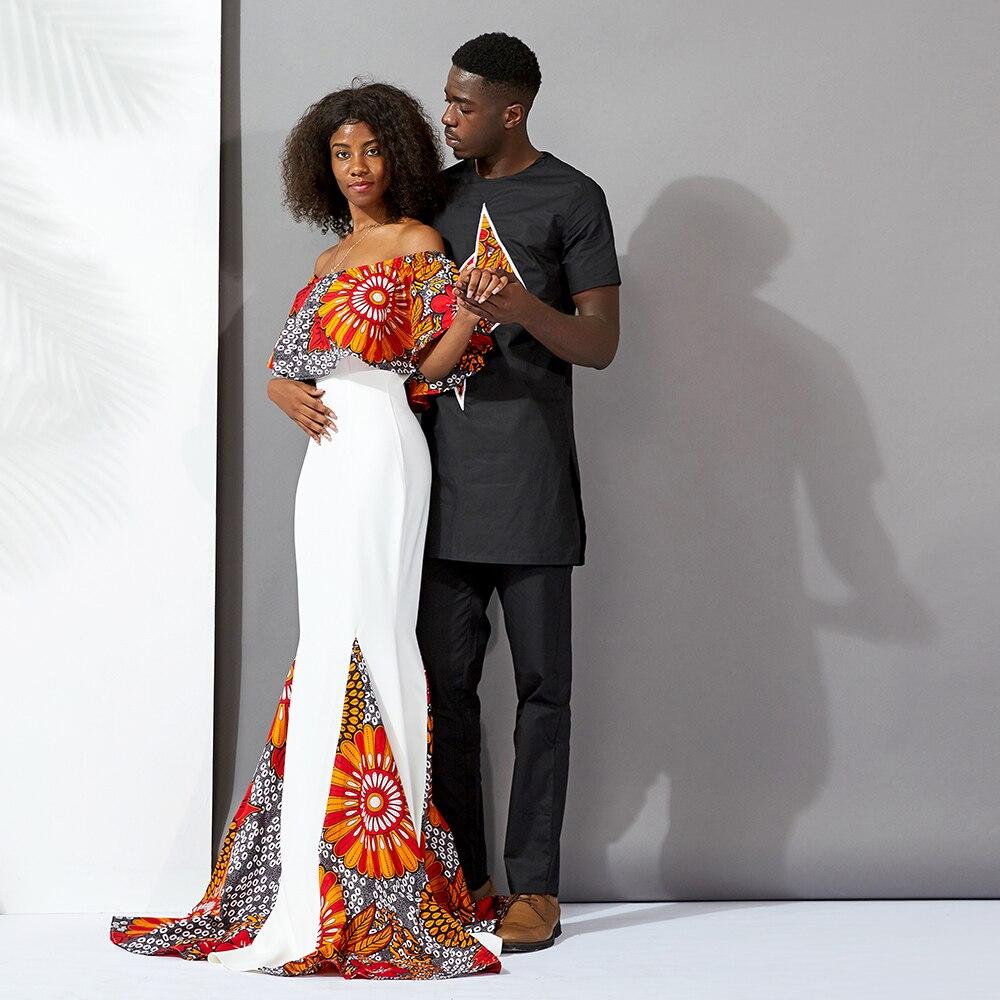 Africain hommes vêtements bazin costumes hauts pantalon 2 pièces ensemble cire matériel coton africain hommes vêtements