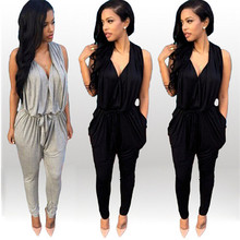 size S-XL Black Gray Backless Pocket Design Harem Jumpsuit Casual Deep V-Neck Sexy Summer Rompers Womens Jumpsuit for Women
