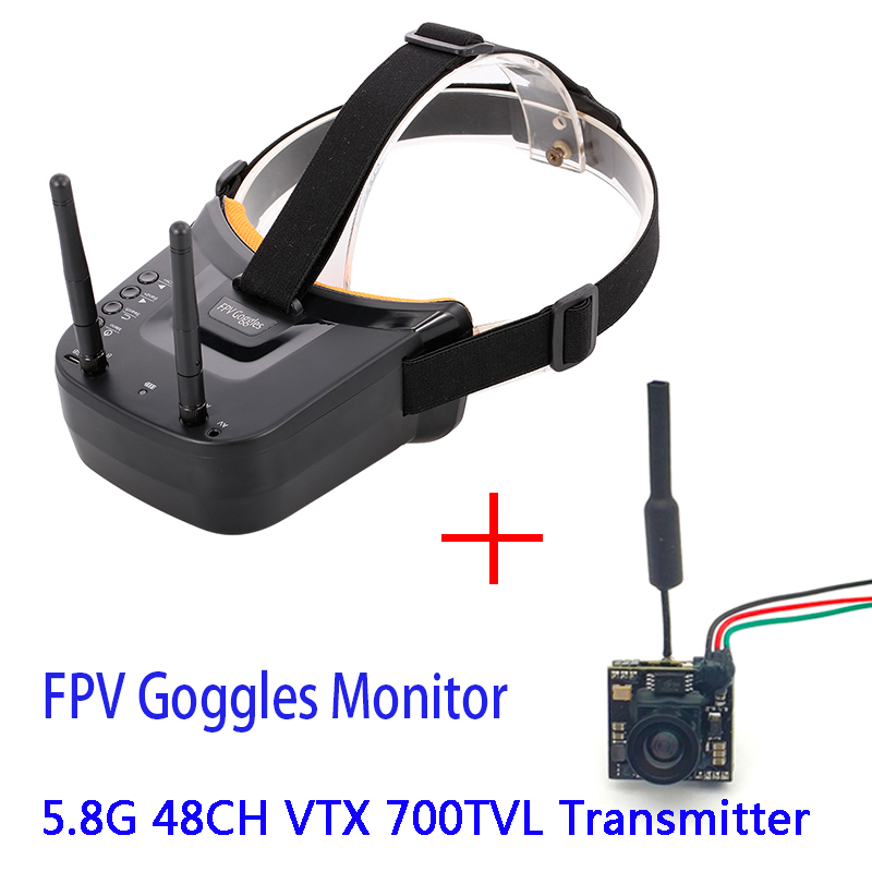 5.8G 40CH Dual Antennas FPV Goggles Monitor Video Glasses Headset HD With 5.8G 200mw video transmitter camera for Racing Drone 1