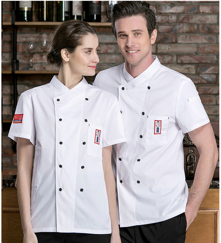 Summer Short-sleeved Chef Service Hotel Restaurant Work Clothes Breathable Chef Uniform Women Men Kitchen Tooling Uniform Tops