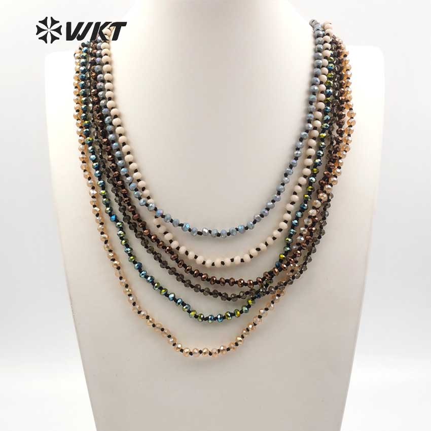 WT N1114 WKT new arrival Natural crystal bead long necklace multi color optional length can be