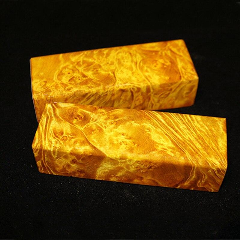 EDC Knife DIY Knife Handle Burma Camphor Burl Insulating Knife Handle Material 12x4x3cm-1 Piece