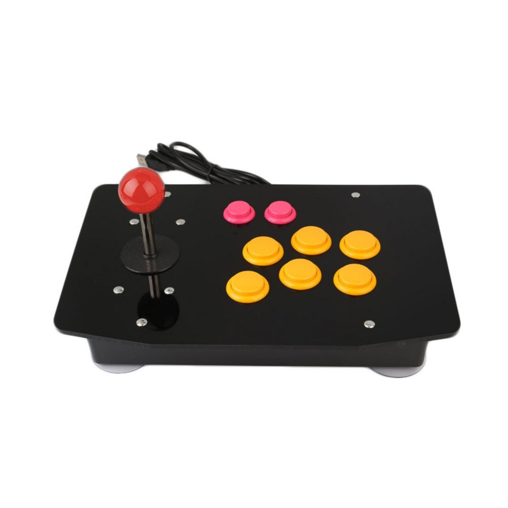 Acrylic Zero Delay Arcade Fighting Stick USB Wired Computer Gaming Joystick Game Rocker Controller with 8 Directional Buttons Fo