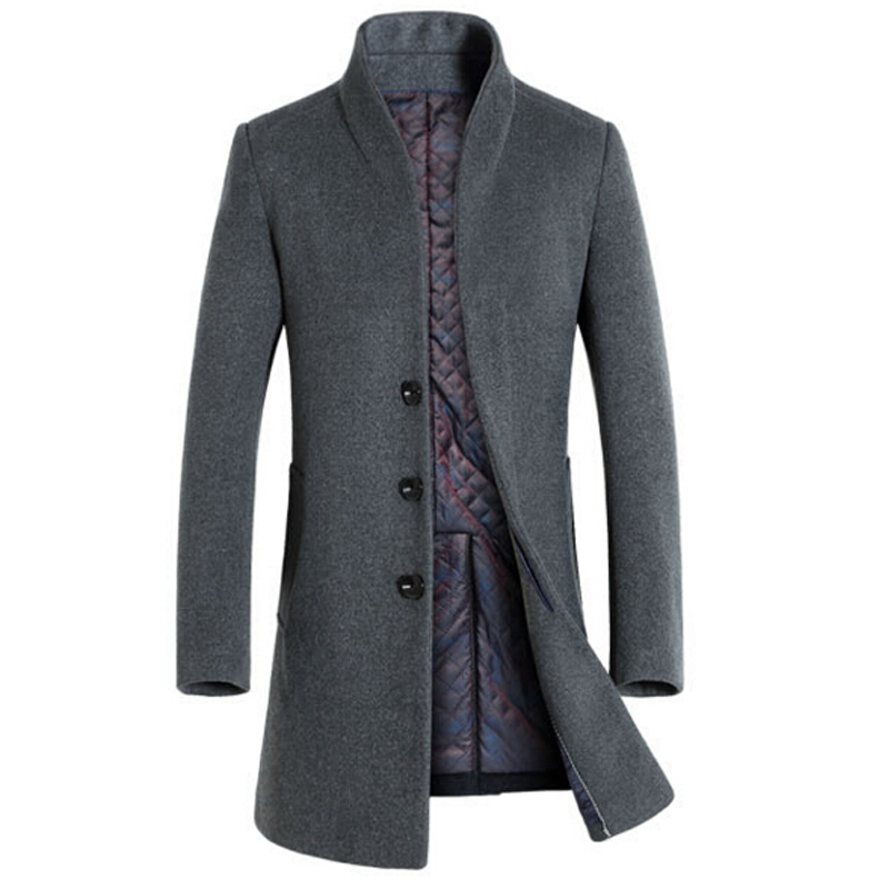 Hot Winter Men's wool coat long sections thick woolen coats Stand collar Casual Fashion casaco masculino palto peacoat overcoat