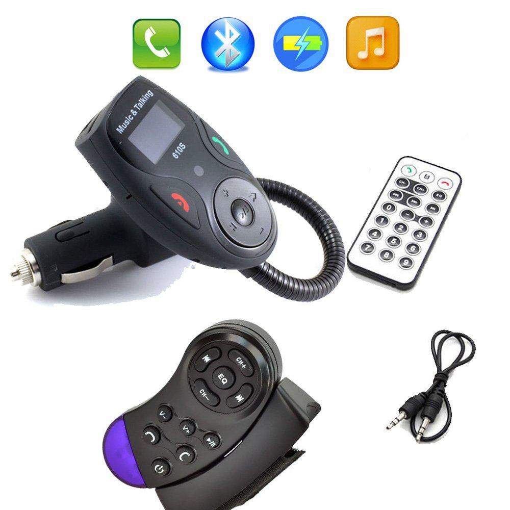 Car Kit Steering Wheel Bluetooth LCD FM Transmitter Radio MP3 Player USB Charger