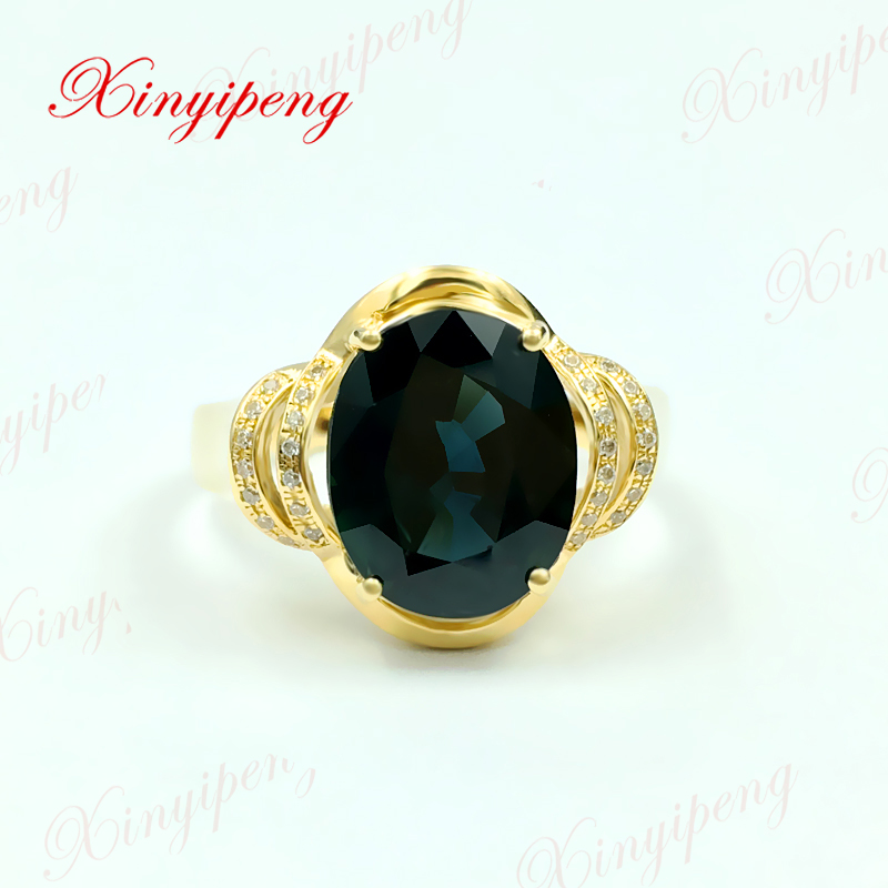 цена на Xinyipeng18K yellow gold set with 3 carat natural sapphire ring for women design is beautiful