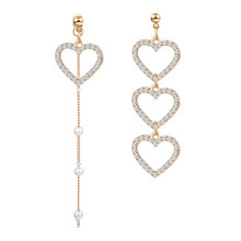 ECODAY Asymmetrical Korean Earrings Crystal Heart Drop Earrings for Women Pendientes Mujer Oorbellen Brincos Jewelry ecoday korean acrylic earrings za 2019 geometric heart earrings statement earrings for women drop earrings pendientes brincos