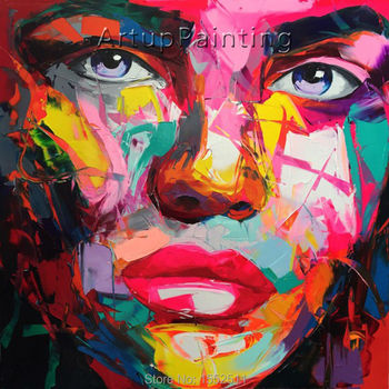 Palette knife painting portrait Palette knife Face Oil painting Impasto figure on canvas Hand painted Francoise Nielly 16-22