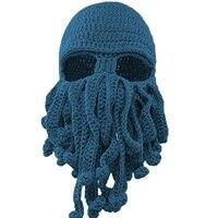 Winter Creative Octopus Funny Hats Ski Windproof Women Men Costumes Squid Cap Sky Blue Knitted Weave
