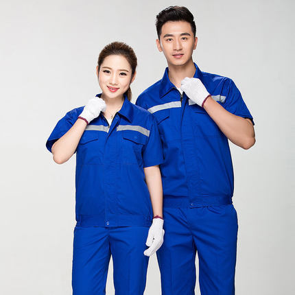 Summer Reflective Thin Work Clothing Sets Unisex Workwear Suits short Sleeve Jacket+Pants Working Factory Uniforms Repair Worker 5
