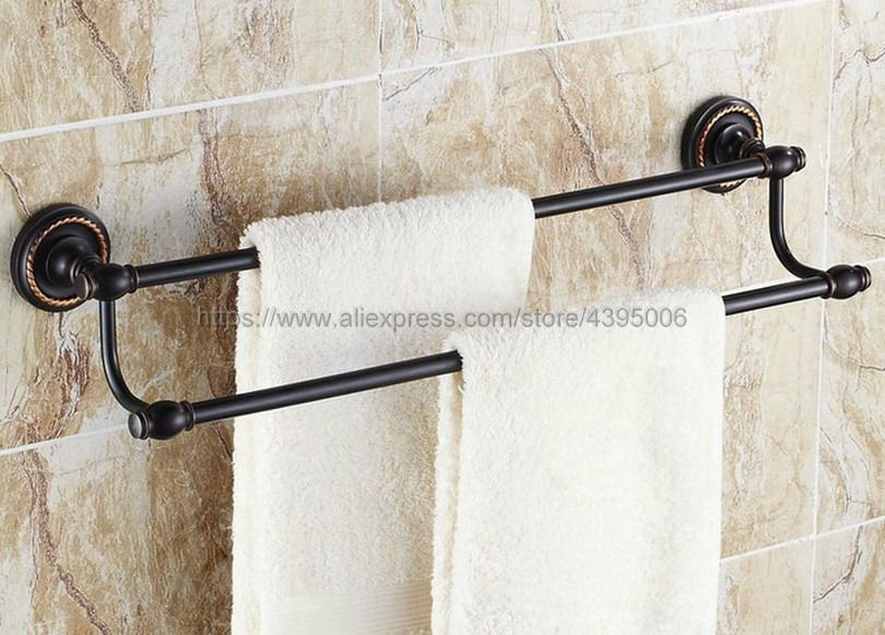 Black Oil Rubbed Brass Wall Mounted Bathroom Double Towel Bar Towel Rack Towel Holder Bathroom Accessories Bba211 aluminum wall mounted square antique brass bath towel rack active bathroom towel holder double towel shelf bathroom accessories