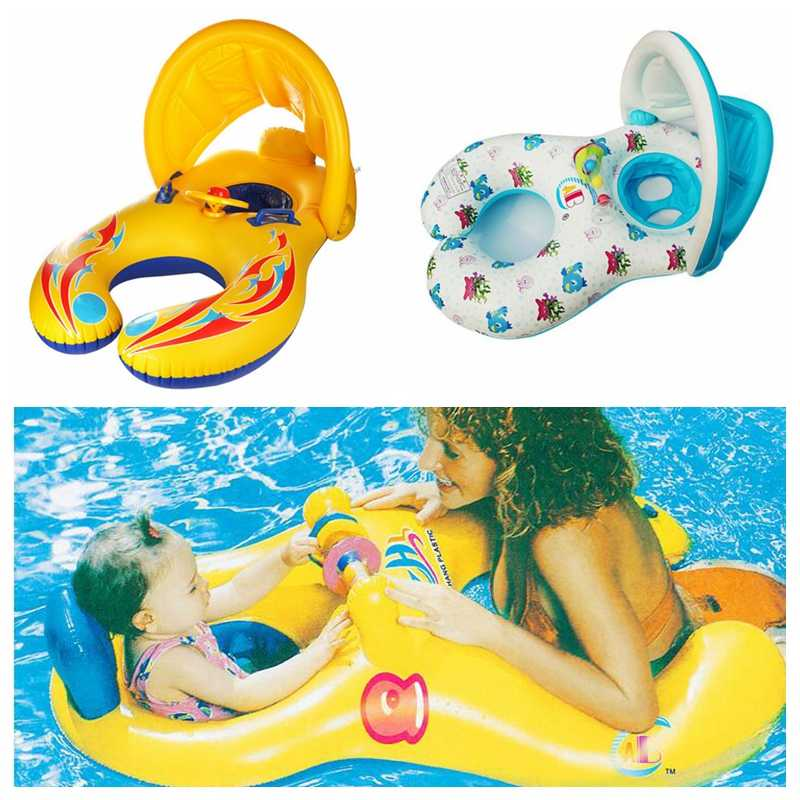 New Inflatable Mother and Baby Shade Swim Float Circle Ring Kids Seat With Sunshade Swimming Pool