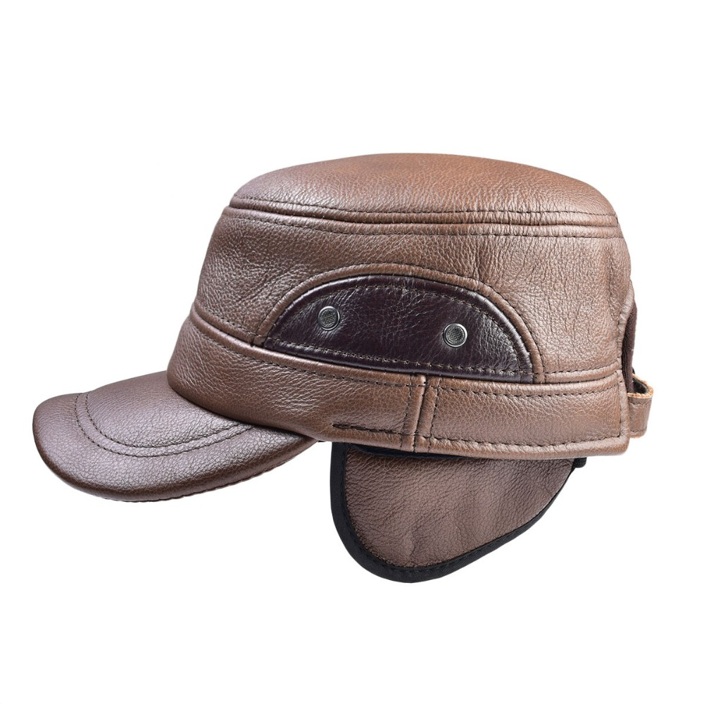 094fcf6e25e Aliexpress.com   Buy VOBOOM Men Sheepskin Hat Cadet Cap Hat For Men Daddy  Genuine Leather Hat Quinquagenarian Male Thermal Ear Protection 1601 from  Reliable ...