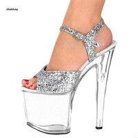 Big:35 45 46 sandals women 20cm ultra high heels zapatos mujer steel pipe dance sandals transparent platform Aknle Strap sandals