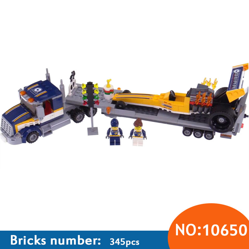 10650 345Pcs City Figures Dragster Transporter Model Building Kits Blocks DIY Bricks Toy For Children Gift Compatible 60151 10646 160pcs city figures fishing boat model building kits blocks diy bricks toys for children gift compatible 60147