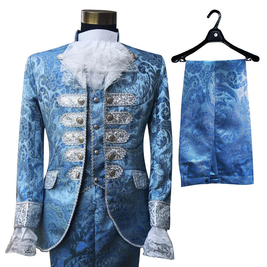 Mens Blue Court dress Wedding Blazers Suit Stage Singer chorus performance clothes Host Studio shooting stage outfits Set