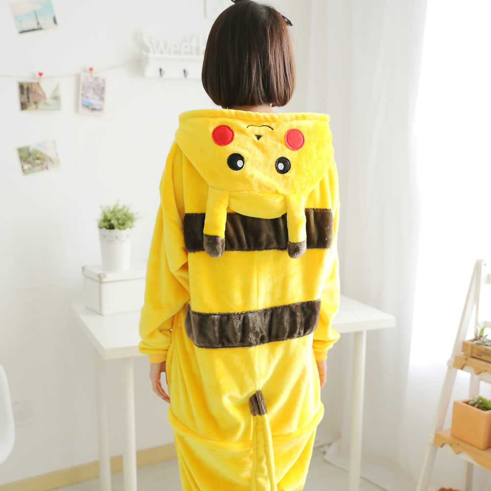 Anime Pikachu Pokemon Pijama Onesie For Monther Daughter Family Pajamas Set Winter Flannel Homewear TC026