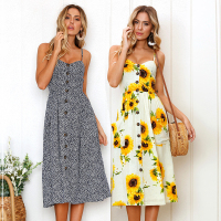 Strap V Neck Summer Dress Women Sunflower Print Backless Party Dress Casual Vestidos High Waist Midi