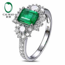 CaiMao 1.0 ct Natural Emerald 18KT/750 White Gold 0.89ct Round Cut Diamond Engagement Ring Jewelry Gemstone colombian