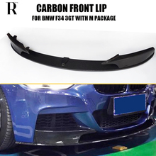 цена на F34 Carbon Fiber P Style Front Bumper Lip Chin Spoiler with Side Splitter for BMW F34 3 Series GT 320 328 330 340 with M package