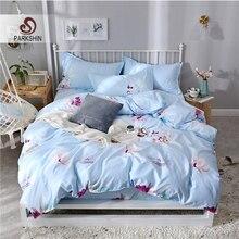 ParkShin Blue Bedding Set Flowers Home Bed Linen For Adult Decor Bedroom Bedspread Duvet Cover Fitted Sheet Bedclothes