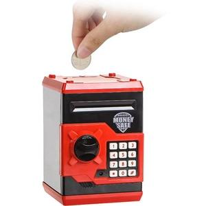 Image 3 - Eworld Mini hucha de seguridad para niños, caja de dinero ATM, contraseña electrónica, masticación de monedas, máquina de depósito en efectivo, regalo