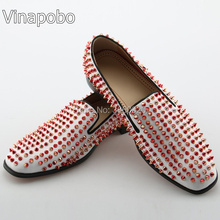Vinapobo Luxury White Red Spiked Men Loafers Shoes Super Stars Bling Sequins  Banque Party Wedding Shoes Slip On Rivets Men 94b6aff003f1