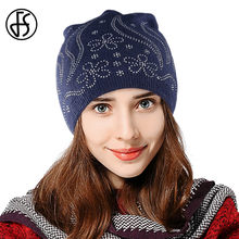 41c373325bdf4 FS Marina flor Rhinestone lana gorros Ladies invierno cálido sombrero hecho  punto elegante mujeres embarazadas tapas