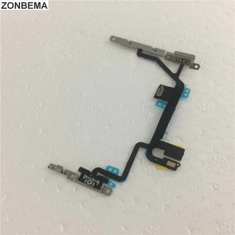 ZONBEMA Alta qualidade New Power switch on off Volume Mudar flex Cable com Metal Montagem do Suporte Para o iphone X 8 8 Plus