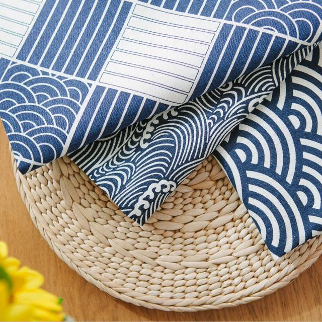 Western Nordic Napkin Plaid Fabrics Linen Table Mat Placemat Japanese Style Navy  Blue Home Decoration