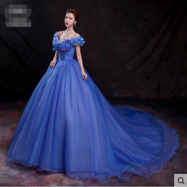 Princess Cinderella Wedding Dress Costume For: FREE PP New Movie Cinderella Princess Cinderella Dress For