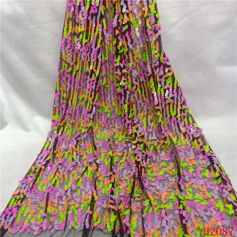 African Lace Fabric Embroidered French Tulle Multi Color Sequin Lace Fabric Latest Nigerian Lace Fabrics for Women HX2087African Lace Fabric Embroidered French Tulle Multi Color Sequin Lace Fabric Latest Nigerian Lace Fabrics for Women HX2087