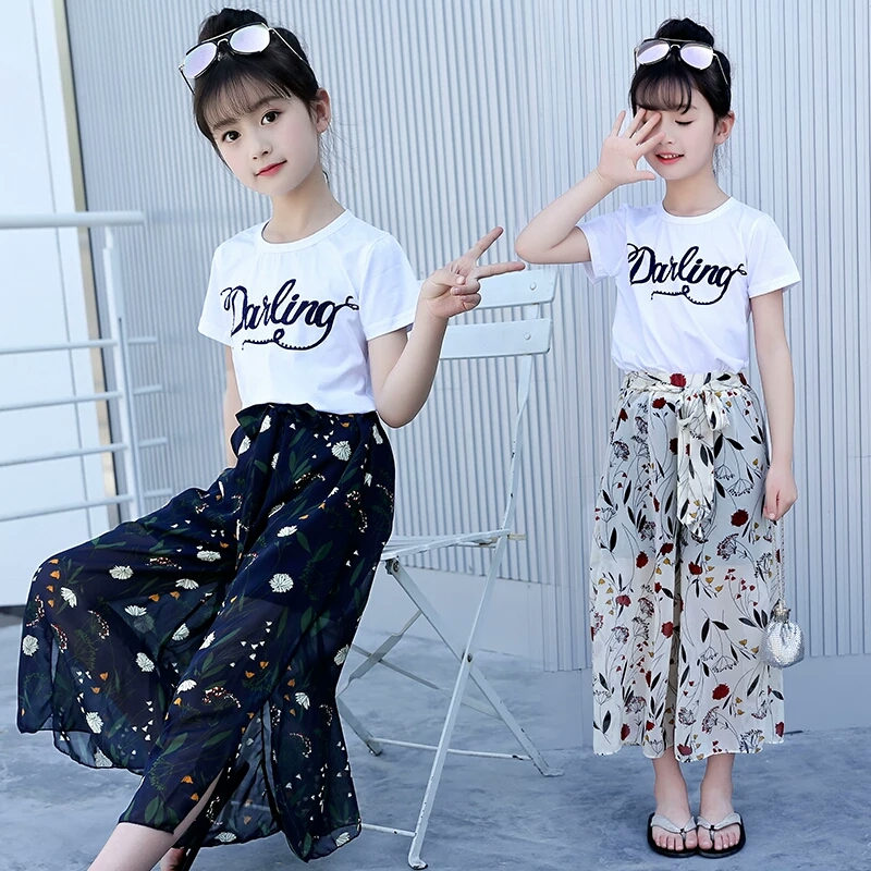 Big Girls Clothing Sets 2018 Summer Teenage Short sleeve Cotton T-shirts + chiffon wide leg pants 2Pcs Outfits childrens clothes cropped wide sleeve top