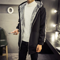 The winter with cashmere coat thickening in men's long coat Mens fat XL Hooded Jacket