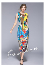 Summer new European and American womens split vest long dress print free shipping