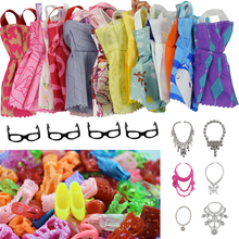30 Pcs=10 Pcs Beautiful Barbie Clothes Fashion Dress+6 Plastic Necklace +4 Glasses +10 Pair Shoes For Doll Accessories