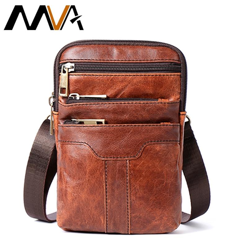 MVA Belt Bag Men Phone Pouch Bags Genuine Leather Waist Packs Fanny Pack Leather Pouch Travel Waists Pack Male Waist Bag Man New men s u pouch design iron man elastic waist sexy t back