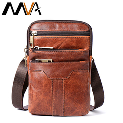 MVA Belt Bag Men Phone Pouch Bags Genuine Leather Waist Packs Fanny Pack Leather Pouch Travel Waists Pack Male Waist Bag Man New