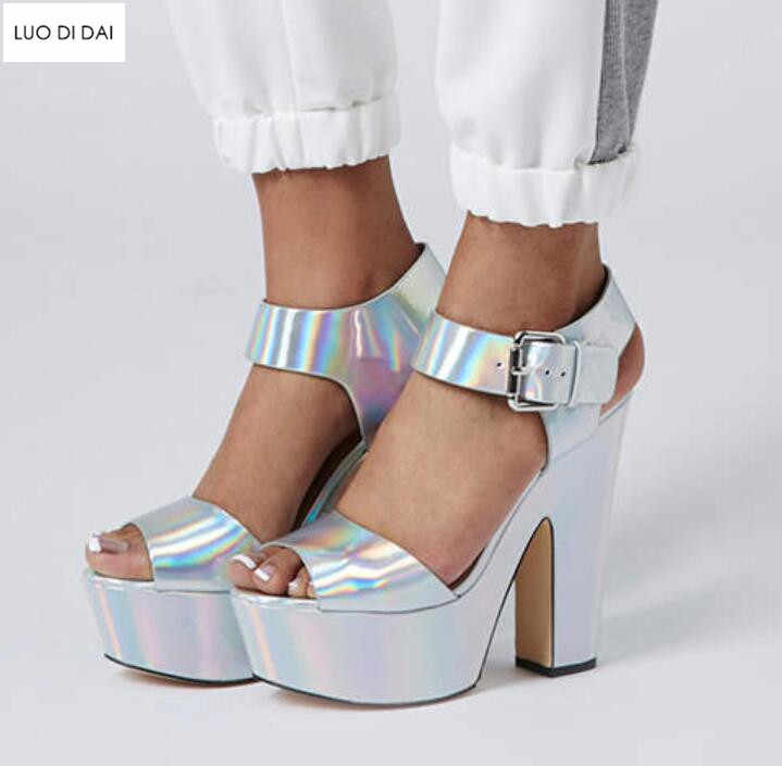 f6b33d5863 2019 new women holographic high heels party shoes summer Peep Toe Laser  sandals bling high heels