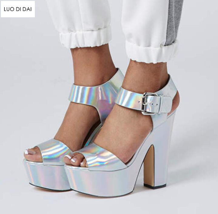 2018 new women holographic high heels party shoes summer Peep Toe Laser sandals bling high heels chunky heel platform sandals