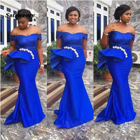 Plus Size Mermaid Prom Dresses Sexy Royal Blue Evening Gowns Long Elegant robe de soiree Abendkleider