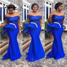 Plus Size Mermaid Prom Dresses Sexy Royal Blue Evening Gowns